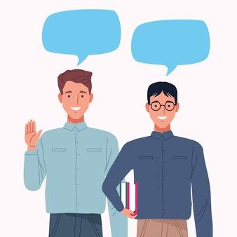 Perfekt unvollkommenes paar männer mit sprechblasen zeichen