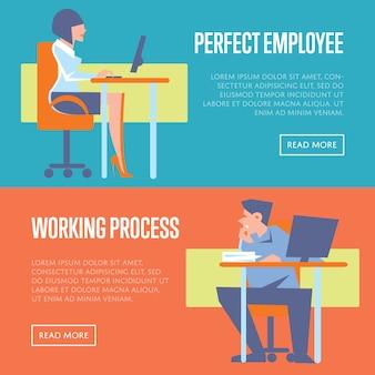 Perfekte banner für mitarbeiter und arbeitsprozesse