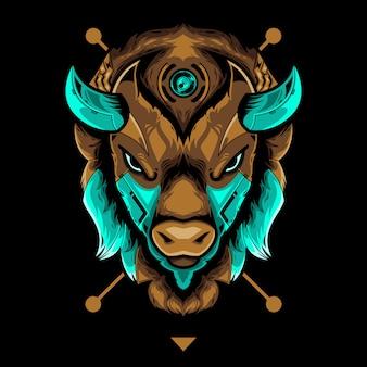 Perfekte bison head vector illustration im schwarzen hintergrund