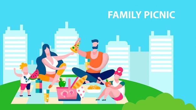 Perfekte familien-picknick-spaß-vektor-fahnen-schablone