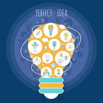 Perfekte ideenillustration mit elementzusammensetzung
