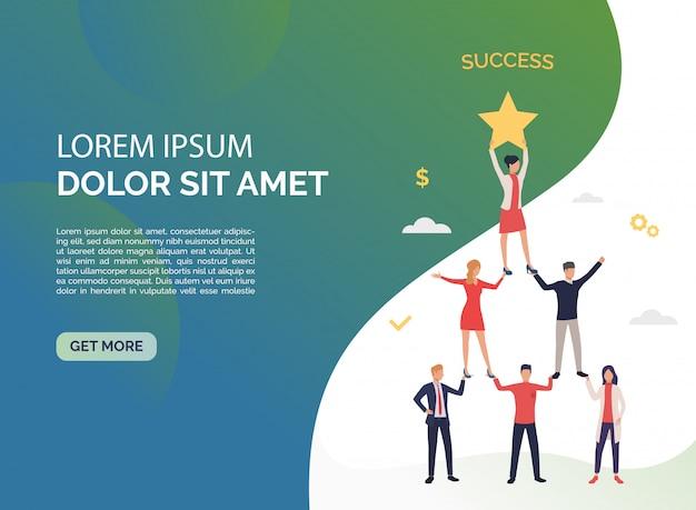 Perfekte teamarbeit mit grüner präsentation