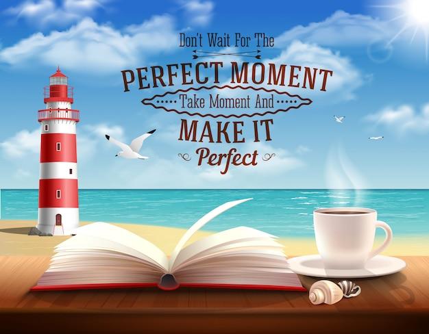 Perfekter moment zitiert mit motivierungswortozean und realistischer illustration des leuchtturmes