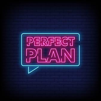 Perfekter plan-neonzeichen-art-text