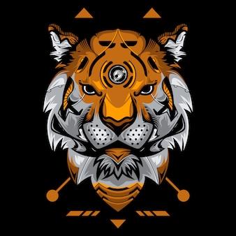 Perfekter tiger head vector illustration im schwarzen hintergrund