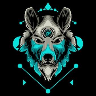 Perfekter wolf head vector illustration im schwarzen hintergrund
