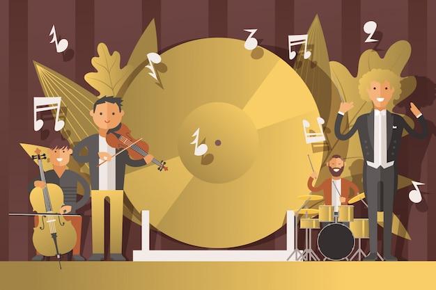 Performance menschen musiker in anzügen, illustration. männer charakter spielen klassische musik auf musikinstrumenten, geige
