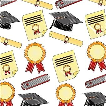 Pergament diplom und hüte graduierung muster