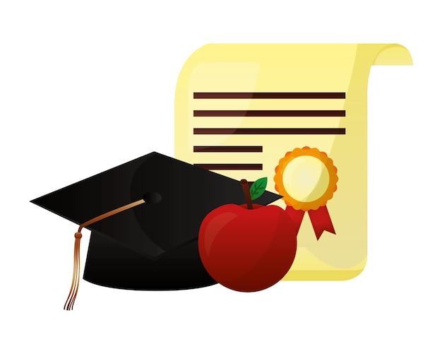 Pergament diplom und hut abschluss