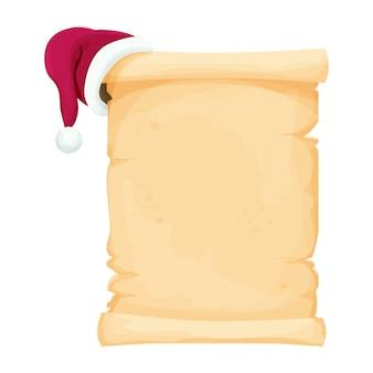 Pergamentrolle leerer weihnachtsbrief mit weihnachtsmütze im cartoon-stil