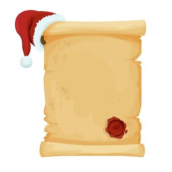 Pergamentrolle leerer weihnachtsbrief mit weihnachtsmütze und rotem rundem wachssiegel im cartoon-stil