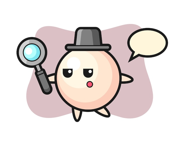 Perle-zeichentrickfigur, die mit einer lupe sucht