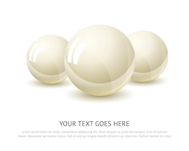 Perlen gesetzt lokalisiert auf weißem hintergrund mit platz für text