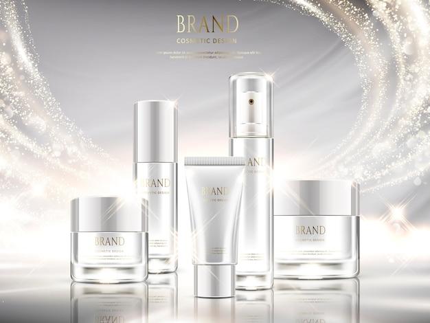 Perlweiße hautpflege-anzeigen, kosmetikpaket mit glitzerndem lichteffekt in der illustration