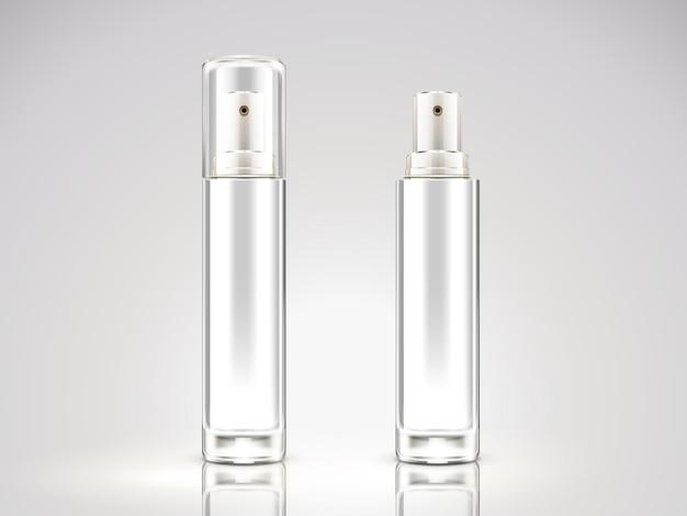 Perlweiße sprühflasche, leere kosmetikflasche in abbildung gesetzt