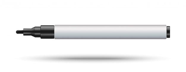 Permanentes markierungsmodell lokalisiert auf weißem hintergrund. schwarzer filzstift