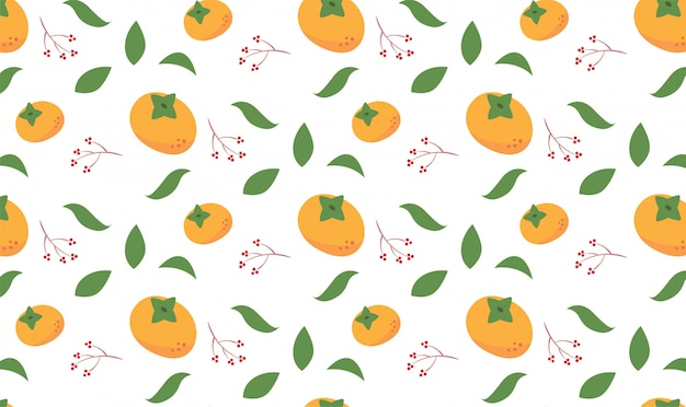 Persimmon orange herbstsaison nahtlose muster
