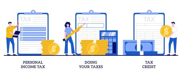 Persönliche einkommenssteuer, steuern machen, steuergutschriftkonzept mit winzigen leuten. gebühren zahlen festgelegt. finanzielle belastung, obligatorische zahlungsberechnung.