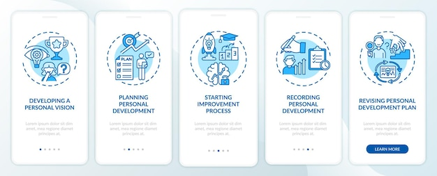 Persönliche entwicklung schritte blau onboarding mobile app seite bildschirm mit konzepten