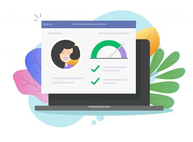 Persönliche fähigkeiten info-geschichte und gute datenbewertung auf laptop-computer online-vektor