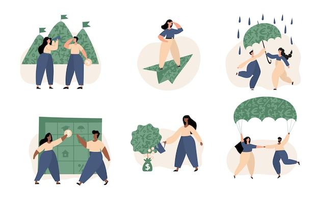 Persönliche finanzen, geldersparnisse, investitionen, persönliches kapital, ziele, versicherungen