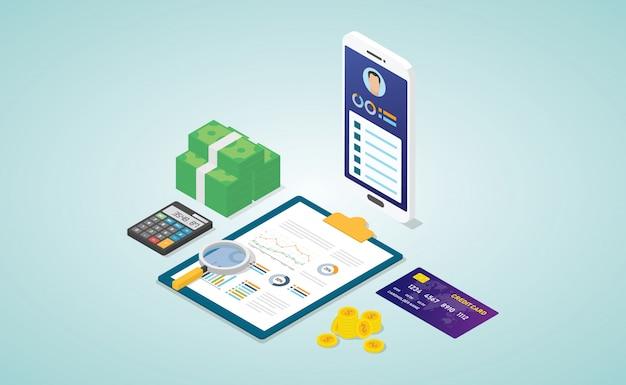 Persönliche finanzen mit biodaten-profilanalysebericht mit einigen finanzdaten mit isometrie