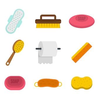 Persönliche hygiene-icon-set. flacher satz der vektor-ikonensammlung der persönlichen hygiene lokalisiert