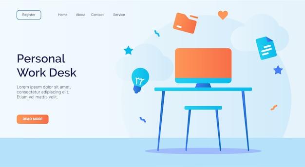 Persönliche schreibtisch-computertischstuhl-symbolkampagne für web-homepage-startvorlage der web-website mit cartoon-stil.