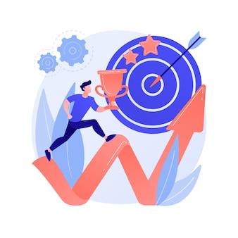 Persönliche wachstumsmotivation. karriereziele, proaktive denkweise, zielsetzung. mann, der hohe leistungen plant und führungsqualitäten stärkt.