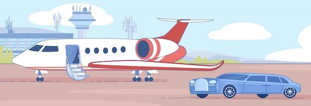 Persönlicher geschäftsjet auf flughafen runaway banner