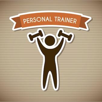 Persönlicher trainer über braune hintergrundvektorillustration