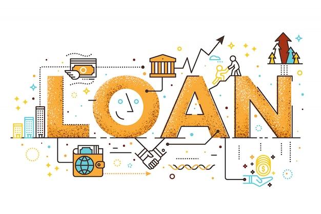 Persönliches darlehen, geschäftsfinanzkonzeptwort-briefgestaltungsillustration mit linie ikonen
