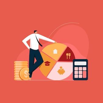 Persönliches einkommens- und ausgabenmanagement strategie und planung des familienbudgets