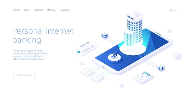 Persönliches internet-banking und geldtransaktionskonzept im isometrischen design. überweisung oder anzahlung und investition. web-banner-layout-vorlage.