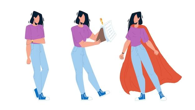 Persönliches wachstum karriere junge geschäftsfrau vektor. arbeitsloses mädchen, bildung und erfolgreich gefundene arbeits- und arbeitsfähigkeiten, persönliches wachstum. charakter dame selbstentwicklung flache cartoon illustration