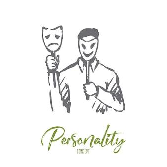 Persönlichkeit, charakter, mann, gesicht, psychologiekonzept. hand gezeichnete person mit maske auf gesichtskonzeptskizze.