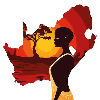 Person afro mit karte von südafrika illustration