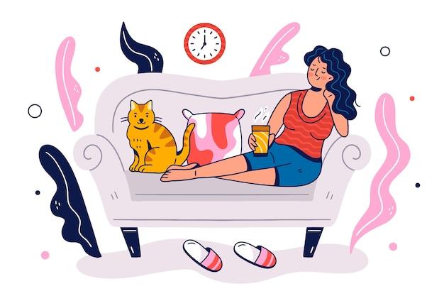 Person, die am designthema für illustration sich entspannt