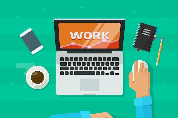 Person, die an der laptop-computer analysiert forschungsdaten bezüglich des arbeitsplatzes arbeitet