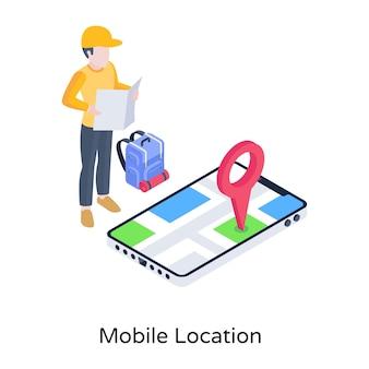 Person, die auf dem isometrischen telefonsymbol des mobilen standorts navigiert