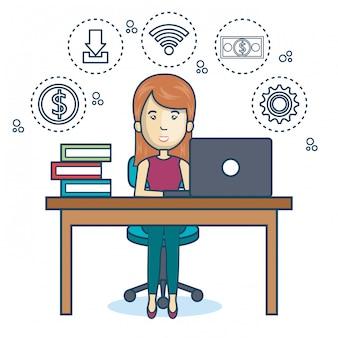 Person, die büro symbol arbeitet