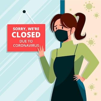Person, die ein geschlossenes schild wegen coronavirus-quarantäne aufhängt