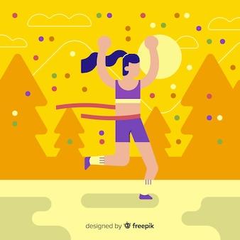 Person, die ein marathonrennen gewinnt