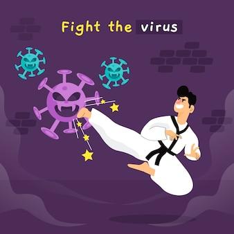 Person, die ein virus mit karate bekämpft