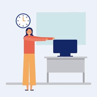 Person, die eine aktive pause im büro, flache tut