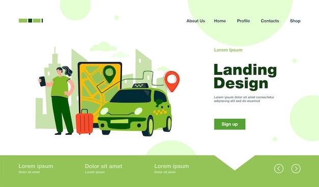 Person, die eine online-landingpage für das taxi zum flughafen im flachen stil bestellt