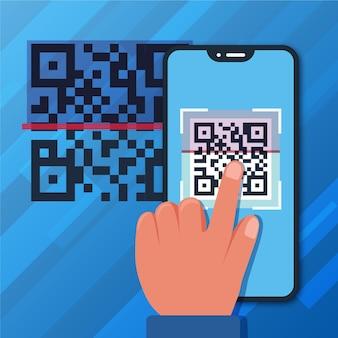 Person, die einen qr-code mit einem smartphone scannt