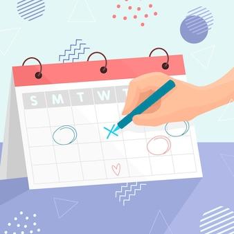Person, die einen termin in einem kalender bucht