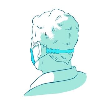 Person, die einen verstellbaren gesichtsmaskenriemen trägt