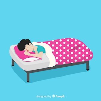Person, die flach im bett schläft